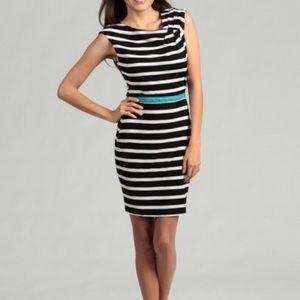 Calvin Klein Striped Shoulder Cinch Dress